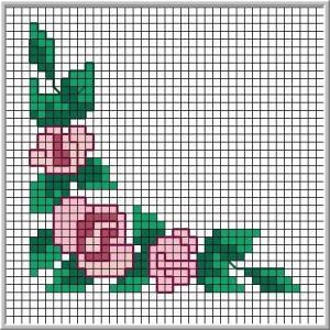 schema angolo rose punto croce