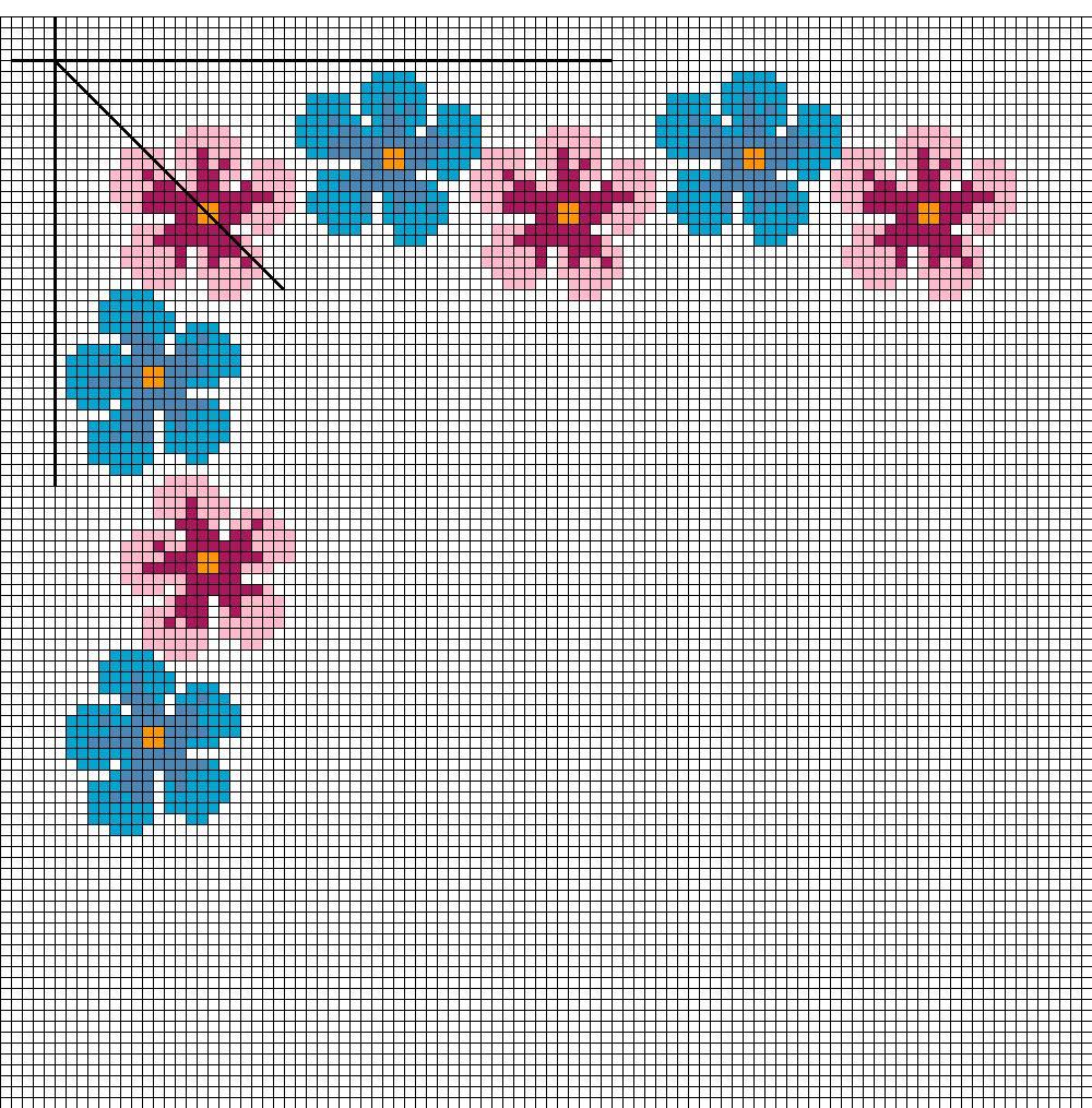 Bordo fiori arte del ricamo europeo for Ricamo punto croce schemi gratis