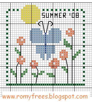 schema estate fiori e farfalle punto croce