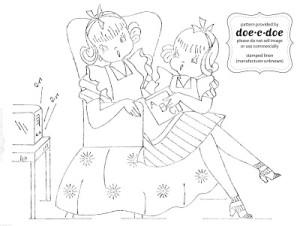 schema di ricamo mamma con bambina che leggono