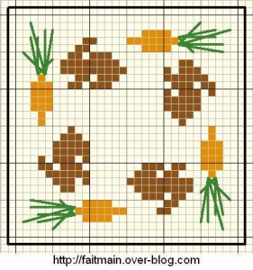 coniglietti con carote a punto croce