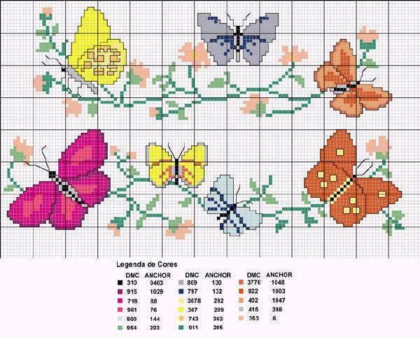 I migliori schemi di ricamo fiori a punto croce arte for Farfalle punto croce