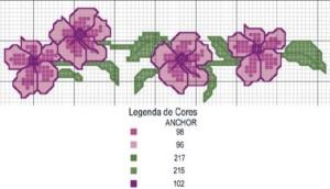 fiori lilla punto croce
