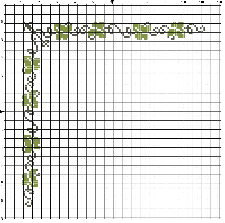 schema punto croce foglie uva