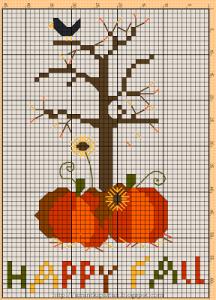 zucche e albero punto croce