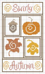 schema punto croce simboli autunnali