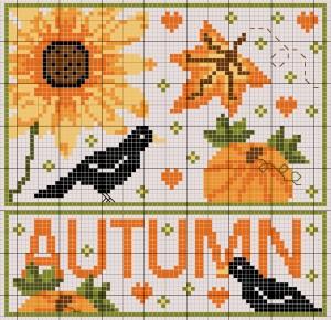 autunno_merli e girasoli a punto croce