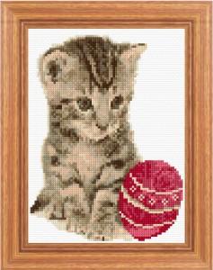 gatto con gomitolo punto croce